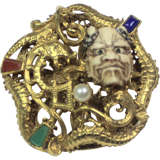 Figural genghis khan face brooch pin what lola wants for Used jewelry san diego
