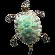 Guilloche Sterling Silver TURTLE Marcasite Enamel Pin/Brooch