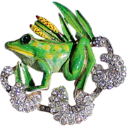 CoroCraft Sterling Enamel Frog Brooch/Pin