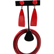 Vintage Bakelite Cherry Red Bangle Set