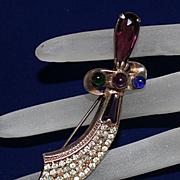 Vintage Scimitar Blade Sword Sterling Rhinestone Brooch