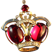 Jelly Belly Sterling Ruby Red Crown Brooch