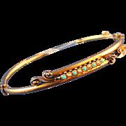 14kt. Gold Art Nouveau Victorian Pearl Turquoise Oval Petite  Bangle Bracelet
