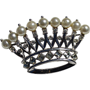 TRIFARI Faux Pearl Royal Crown Brooch