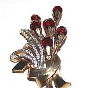 1940's Ruby Red Floral Bouquet Brooch
