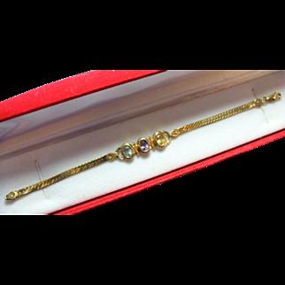 Sterling Silver/Vermeil Genuine Oval Setting  Blue topaz, Amethyst, and Citrine Bracelet