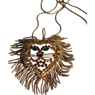Lion King Figural with fox tail mane brooch Pendant