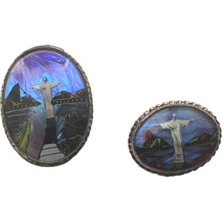 Rio Olympic  Butterfly Wings Sterling Two Brooches Rio Brazil