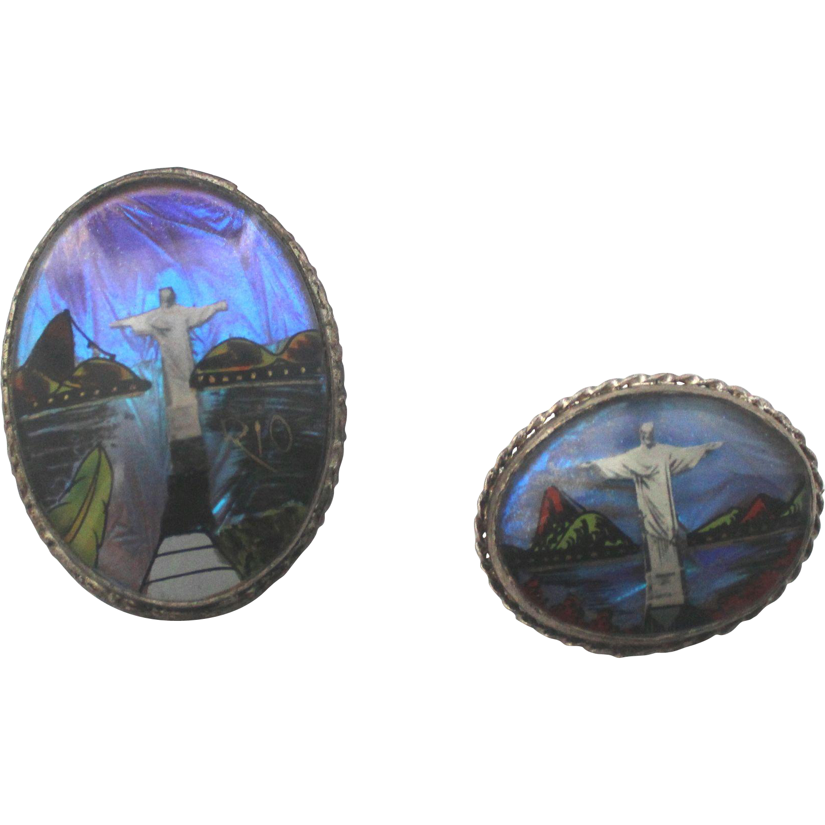 Rio Olympic Butterfly Wings Sterling Two Brooches Rio