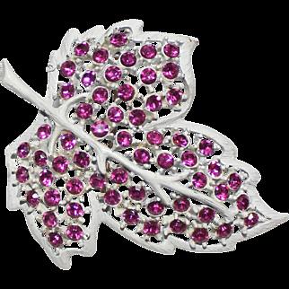 Weiss Summer Enameled Leaf  Brooch Fuscha Swarovski Stones