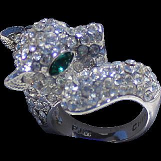 Panther Swarovski Rhinestones Pave' Ring signed PJM