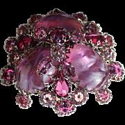 Schreiner Indigo Glass Stones Large Brooch