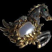 KJL Figural Mythological Pegasus Pearl glass Cabochon Brooch