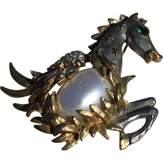 KJL Figural Mythological Pegasus Pearl glass Cabochon Brooch