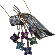 Coro Pegasus Sterling  Floral Spray Swarovski  Pendant Slide and Brooch