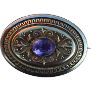 Victorian Gold Filled Compartment Photo, Hair, Amethyst Stone Etch Brooch