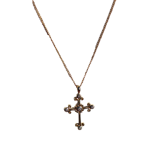 """14kt. Gold"" Cross Diamond Accents Pendant Necklace"