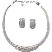 Christian Dior Swarovski crystals Set Necklace and 14kt. Gold post, Matching Earrings