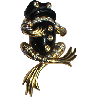 KJL Kenneth Lane Frog Yoga Sitting Brooch 1960's