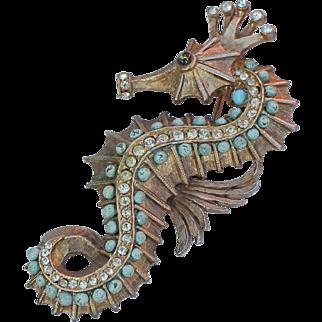 Hattie Carnegie Figural Seahorse Brooch Rare