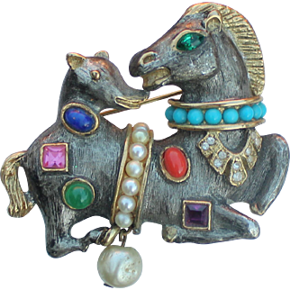 KJL Kenneth Lane Two Headed Horse and Hound Fantasy Brooch