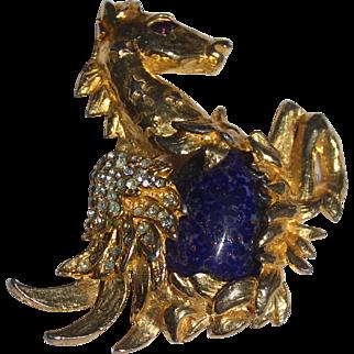 Figural Mythological Wing Horse Rhinestone, Lapis Blue Gold tone  Brooch