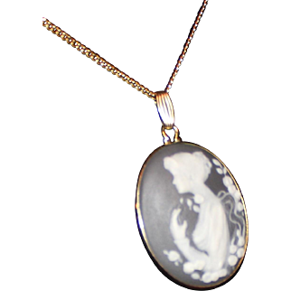 Cameo Hand Carved Jasper Depicting Portrait of Women Pendant with Chain