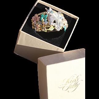 Kirks Folly  Retired Fantasy Enameled Spring Easter Flowers Rhinestones Unicorn Clamper  Bracelet