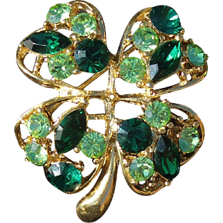 St. Patrick Day Four Leaf  Clover's Brooch Signed