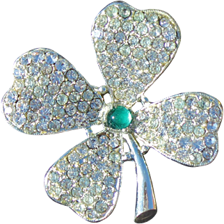 St. Patrick Day Four Leaf  Clover's Pave Brooch