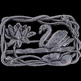 """Sterling Silver """"Lang"""" Figural Swan in Lake Brooch"""