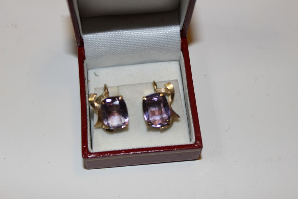 "Vintage ""14kt. Gold "" Amethyst Screw Back Earrings 1940's"