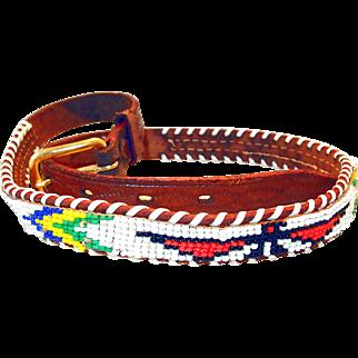 Vintage Beaded Leather Childs Indian Belt