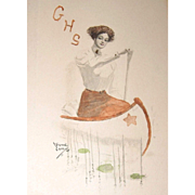 1911 Girl Scout Hand Colored Lithograph Postcard