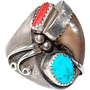 Large Mens Sterling Bear Claw Ring with Turquoise and Coral