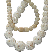 Hand Carved Hollow Bone Chinese Bead Necklace