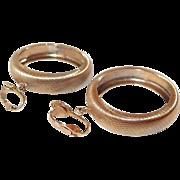 Brushed Gold Metal Dangle Hoop Clip Earrings