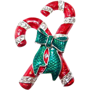 Xmas Candy Cane Pin Green Bow with Rhinestones