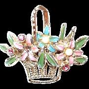 Pastel Enamel Flower Basket Scatter Pin