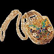 Chinese Filigree Enamel Butterfly Pendant