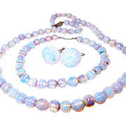Rare Opal/Opalescent Glass Bead Set Includes Necklace, Bracelet, Earrings