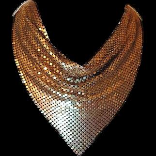Goldtone Mesh Bib Scarf Necklace