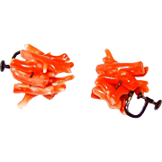 Victorian Natural Branch Coral and Sterling Earrings
