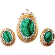 Molded Jade Glass and Rhinestone Jomaz Pin and Earring Set