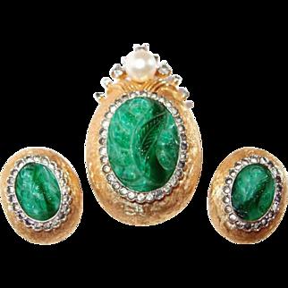 Molded Jade Glass and Rhinestone Jomaz Pin and Earring Set
