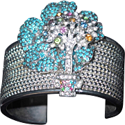 Silver-tone Bead Work Metal Cuff Bracelet with Dimensional Turquoise Pansies and Rhinestone Tree Motif