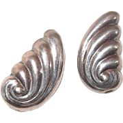 Sterling Hollow Swirl Post Earrings look like Wings or Shells