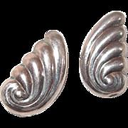 Sterling Hollow Swirl Post Earrings look like Wings or Shells