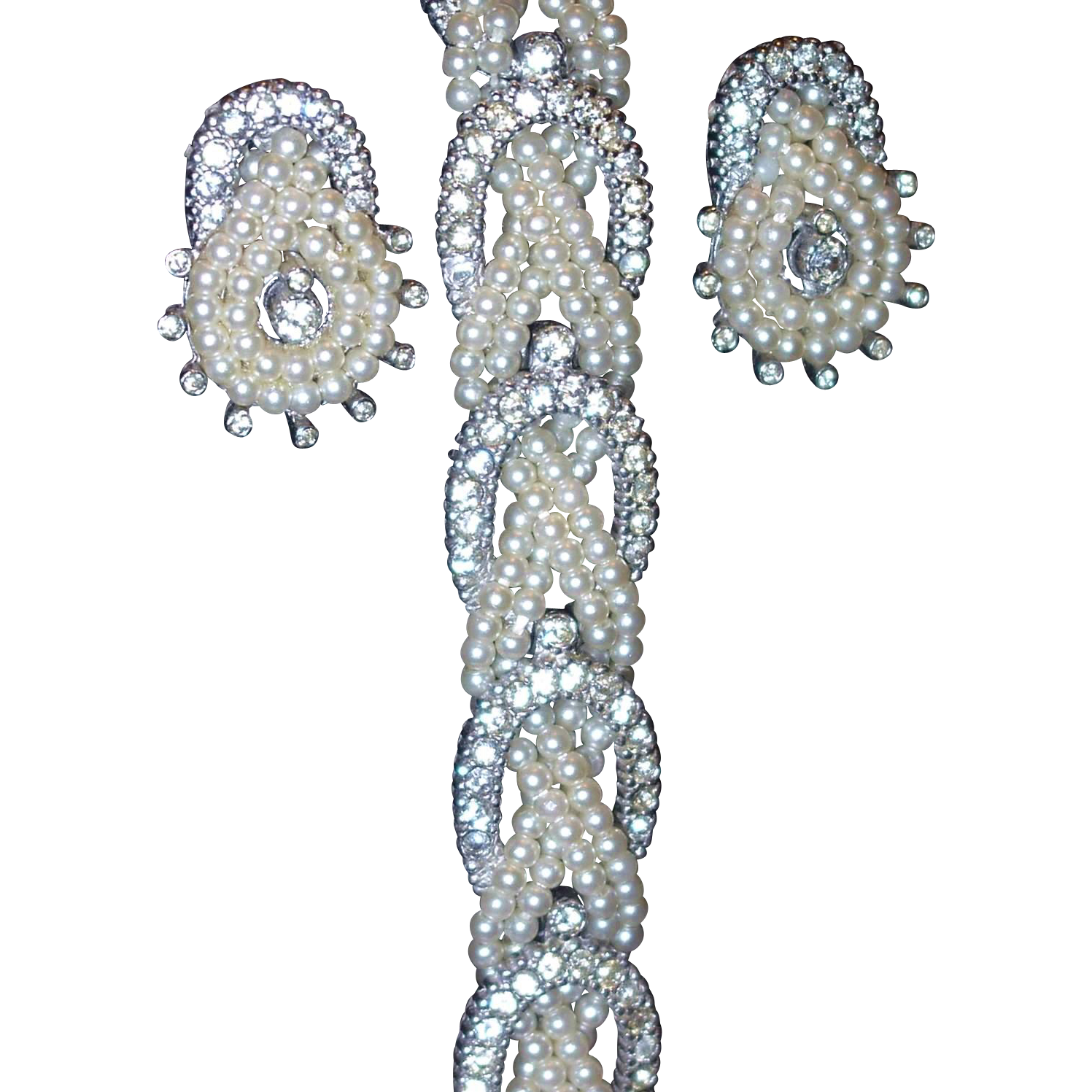 Ciner Seed Pearl Pave Rhinestone Loop Necklace And Earring