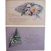 Linen Easter Postcard Lot in Purple Flowers Unused